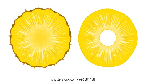 Vector illustration of ripe juicy pineapple slices isolated on white background. A cut ring of fresh exotic fruit. Natural tropical eco product