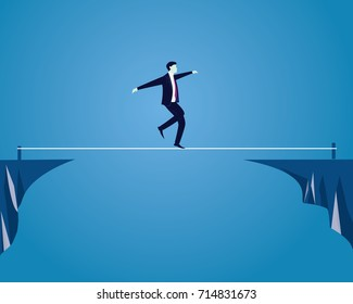 Vector illustration. Risk challenge in business concept. Businessman walking on balancing slackline rope. Conquering adversity problems solution