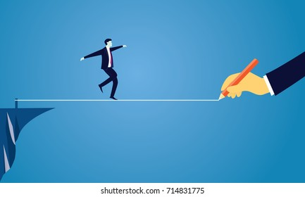 Vector illustration. Risk challenge in business concept. Businessman walking on balancing tight rope as it is being drawn. Conquering adversity problems solution
