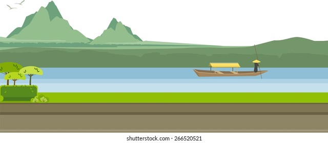 vector illustration of a river in the highlands of the beautiful nature on a sunny day