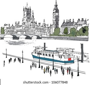Vector illustration of river Thames and Westminster buildings, London England