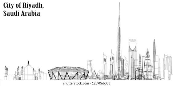 Vector illustration of Riyadh city structure,Saudi Arabia