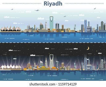 vector illustration of Riyadh skyline at day and night