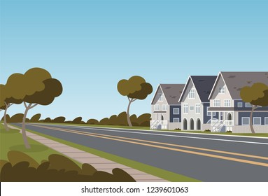 Vector illustration road along the inhabited city. Vector illustration of a cartoon road passing through a small populated town with townhouses. The concept of life outside the city