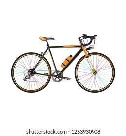 Vector illustration of road bike isolated on white background. Road racing bicycle without rear and front fenders   in flat style.