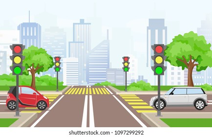 Vector illustration of road cross with cars in the big modern city. Street with traffic lights in flat style.
