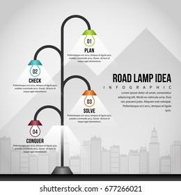 Vector illustration of road lamp idea infographic design element.