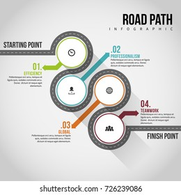 Vector illustration of road path infographic design element.