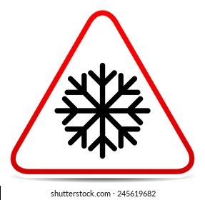 Vector illustration of a road sign with snowflake symbol. Extreme weather, storm. Eps 10