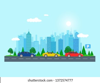 Vector illustration of road trip, isolated on light blue cityscape. Flat style. Good for advertisement, banners, web, posters and cards