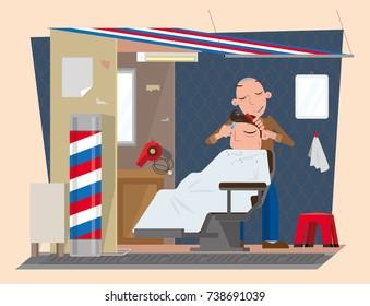 Vector illustration of roadside barber stall in Hong Kong