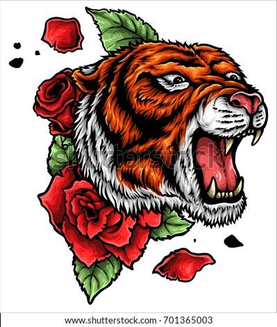 Vector Illustration Roaring Tiger Head Roses Stock Vector Royalty