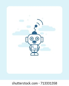 Vector illustration of robot. Call icon.