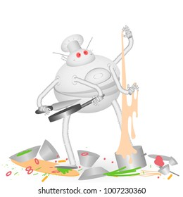 Vector illustration of a robot cook broke and makes the kitchen chaos of products and kitchen equipment. Dynamically, expressively cartoonish on a white background isolate
