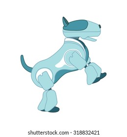 Vector illustration of robot dogt is standing on its hind legs on white isolation backgroound