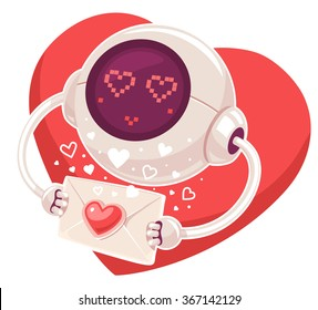 Vector illustration of robot with envelope and red heart on white background. Art design for Valentine's Day greetings and card, web, banner, poster, flyer, brochure, print.
