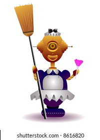 vector illustration for a robot maid going to clean.