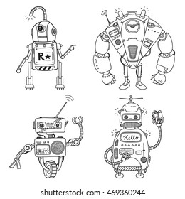 Vector illustration of a Robot. Mechanical character design. Set of four different robots. Coloring book page.
