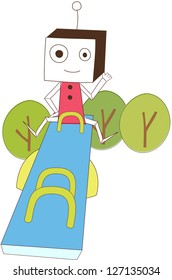 A vector illustration of a robot on a teeter totter