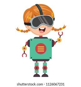 Vector Illustration Of Robotic Girl