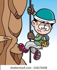Vector illustration of Rock climber