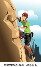 A vector illustration of a rock climber
