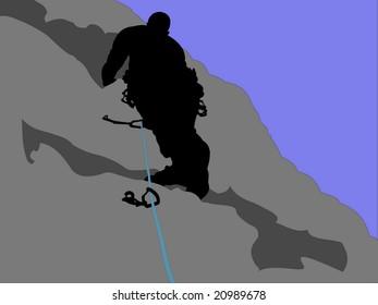A vector illustration of a rock climber against a blue sky