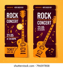 vector illustration rock concert ticket design template with orange guitar and cool splash effects in the background