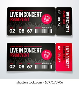 vector illustration rock party festival ticket design template with cool grunge effects and place for text