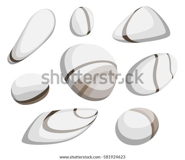 Vector Illustration Rock stone cartoon Set of different boulders Natural sea spa rock material game art
