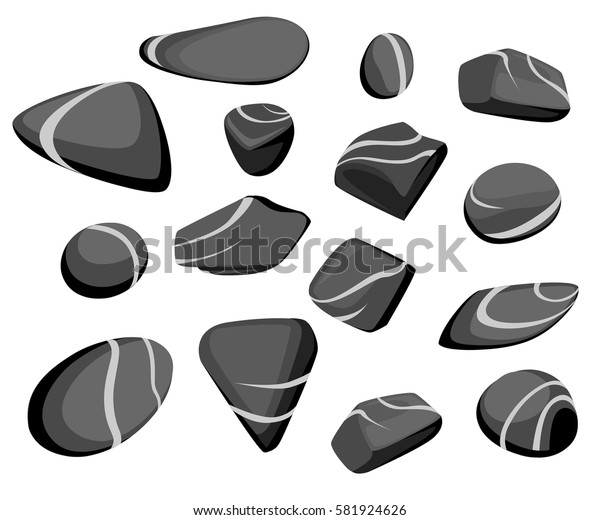 Vector Illustration Rock stone cartoon Set of different boulders Natural sea spa rock material game art
