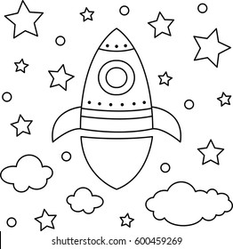 Vector illustration of a rocket. Coloring page.