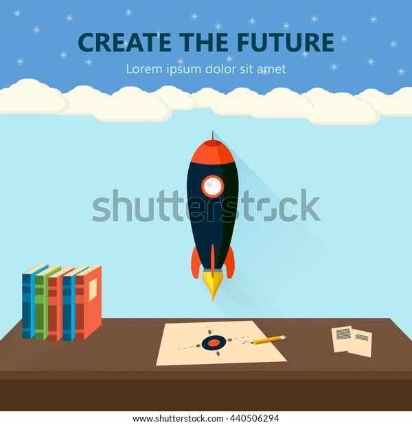 Vector illustration of rocket on the table in flat style