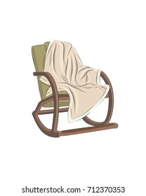 Vector illustration of rocking chair with beige rug on white background.