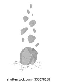 A vector illustration of Rocks falling and cracking the ground leaving rubble. Falling Rocks Icon Illustration. Grey boulders crashing to the ground.
