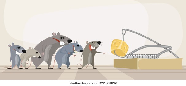 Vector illustration of rodents and cheese in mousetrap