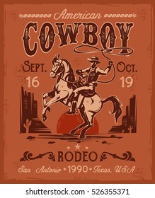 Vector illustration rodeo poster with a cowboy sitting on a rearing horse in retro style.
