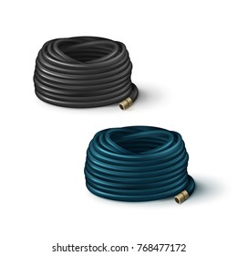 Vector illustration of rolled hoses for garden black and blue isolated on white background