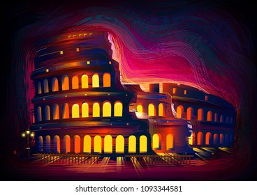 vector illustration of Roman Colosseum world famous historical monument of Rome, Italy