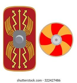 Vector illustration roman legionary shield and viking shield