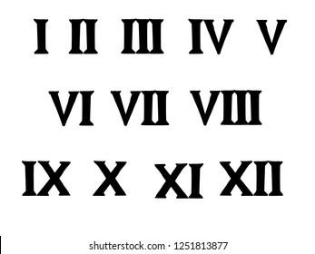 Vector illustration of Roman numeral symbols.