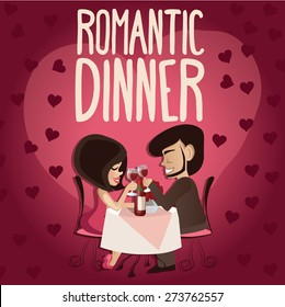 Vector illustration of romantic couple in the cafe , Valentine's Day Card