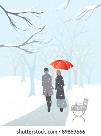 vector illustration of a romantic couple walking through a snow covered park in winter in eps 10 format