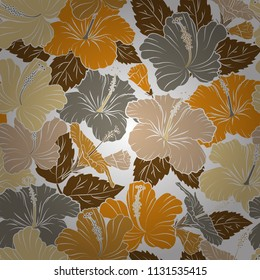 Vector illustration. Romantic seamless pattern with watercolor bouquet of abstract hibiscus flowers in white, yellow and beige colors. For backgrounds, textiles, wrapping papers, greeting cards.