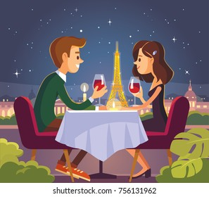Vector illustration with romantic Valentines dinner in Paris