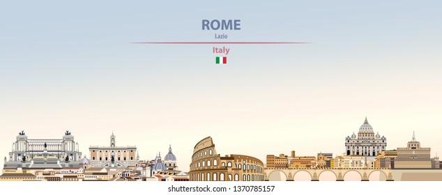 Vektorillustration-Illustration der Rom-Skyline auf buntem Farbverlauf-schönem Himmelshintergrund mit italienischer Flagge