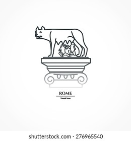 Vector Illustration of Rome Landmark Outline for Design, Website, Background, Banner. Silhouette Italy Tourism Infographic Element. Vacation Template. the Capitoline wolf.