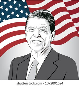 Vector illustration of Ronald Reagan(1911-2004), 40th President of the United States, image of Reagan.