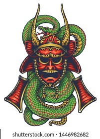 Vector illustration of Ronin Mask armor and snake tattoo
