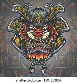 Vector illustration of Ronin tiger samurai warrior